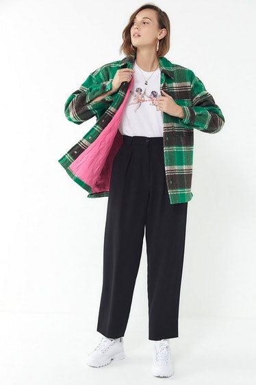 UO Charlie Plaid Snap Button-Down Jacket