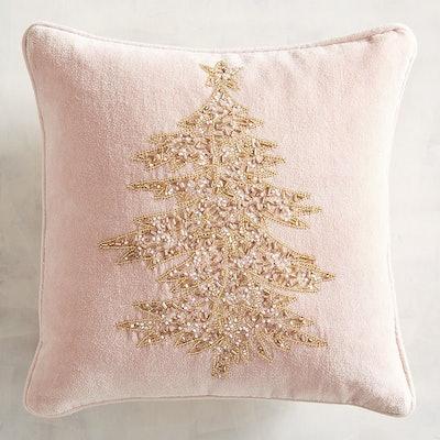 Beaded Blush & Gold Tree Pillow