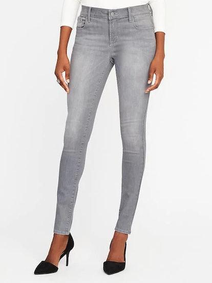 Mid-Rise Built-In-Sculpt Gray Rockstar Jeans for Women