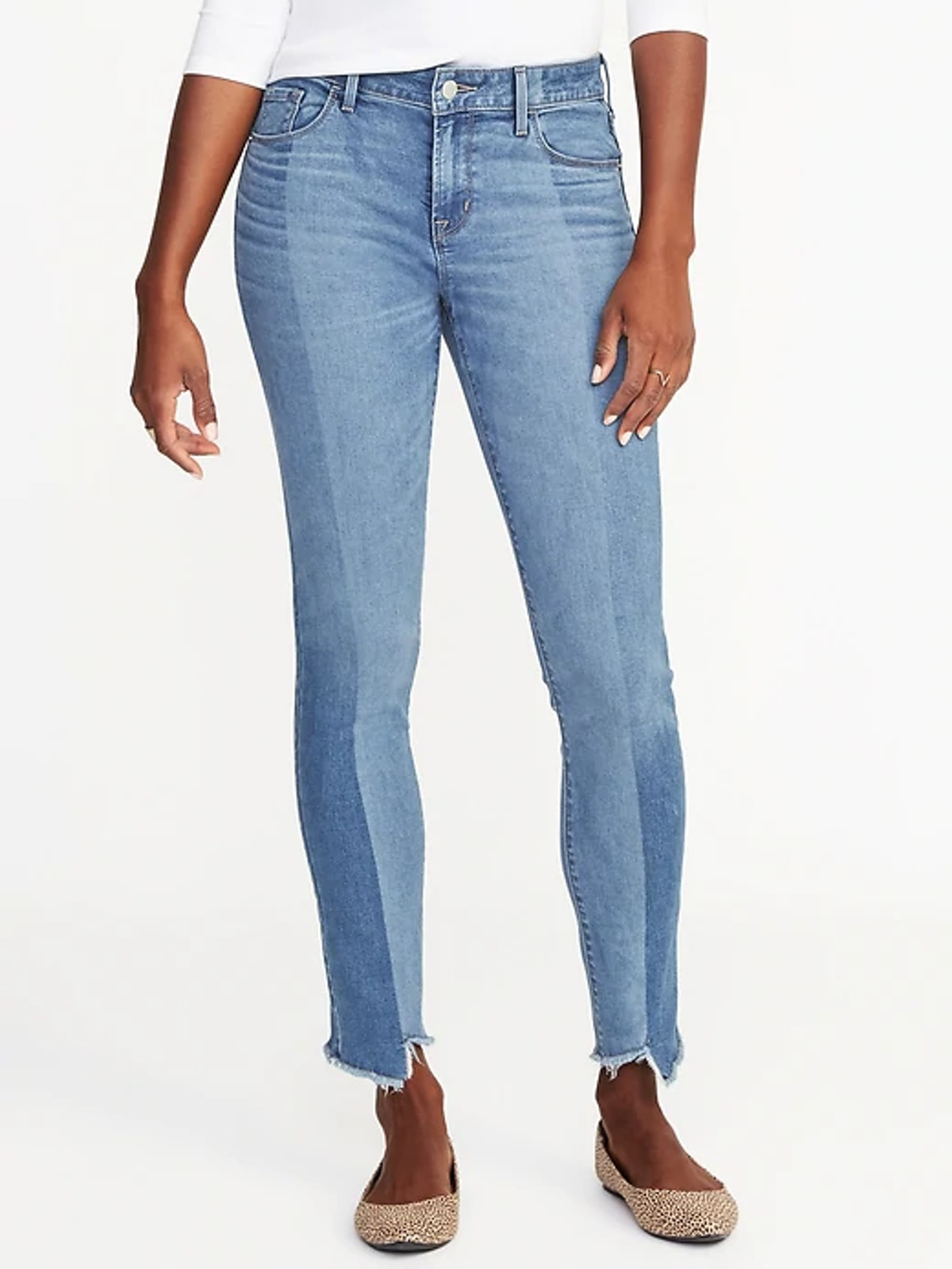Mid-Rise Rockstar Raw-Edge Jeans for Women