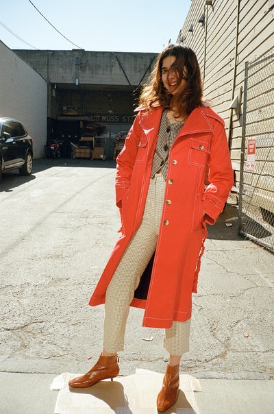 Ajaie Alaie Mujer Trench Coat - Rojo Red