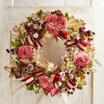 "30"" Luxury Classic Faux Pink Peony Wreath"