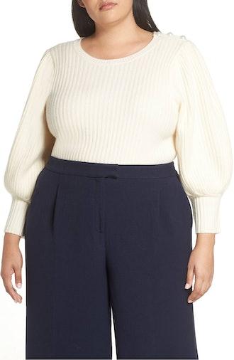 Balloon Sleeve Wool & Cashmere Sweater