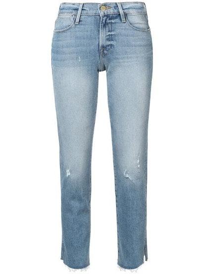 Le High Raw Edge Slit Rivet Jeans