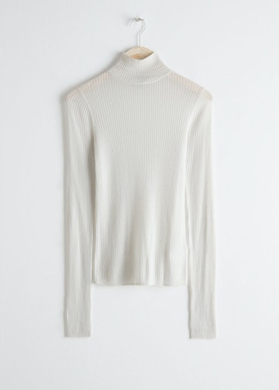 Semi Sheer Ribbed Turtleneck