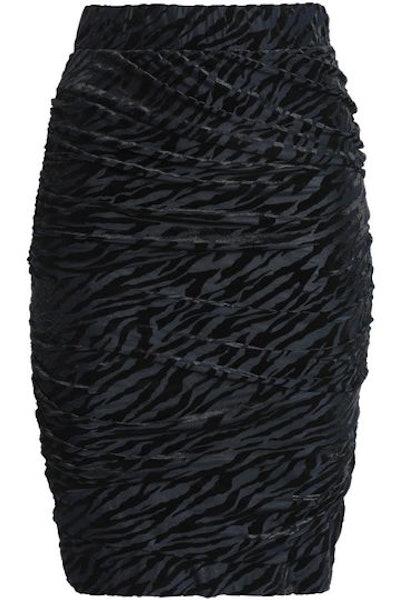 GANNI Ruched Devoré-Velvet Skirt