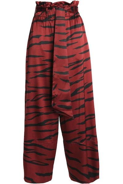 GANNI Zebra-Print Silk-Blend Satin Wide-Leg Pants