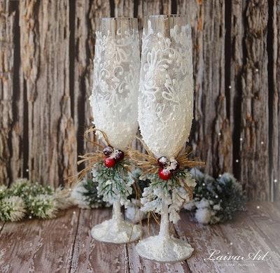 Rustic Wedding Champagne Glasses