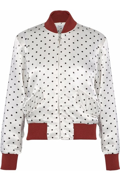 GANNI Leclair Polka-Dot Satin Bomber Jacket