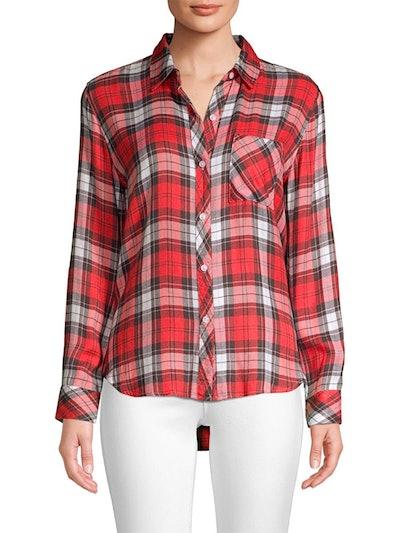 Hunter Rayon Plaid Shirt In Scarlet Ash White