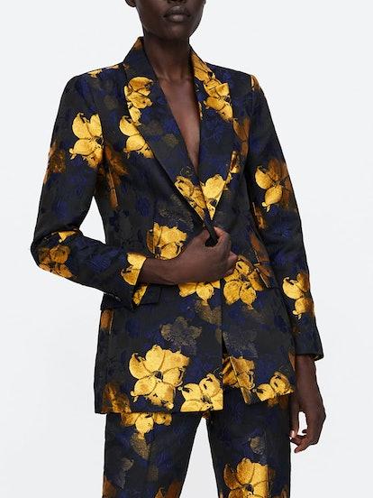 Floral Jacquard Blazer