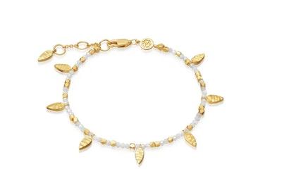 Rainbow Moonstone Beaded Leaf Bracelet