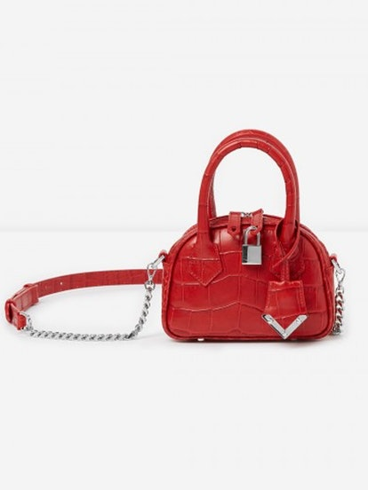 Mini Red Crocodile-Print Bag