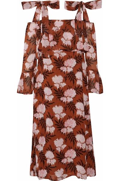 GANNI Monette Cold-Shoulder Floral-Print Georgette Dress