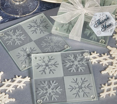 Snowflake Glass Wedding Coaster Favors