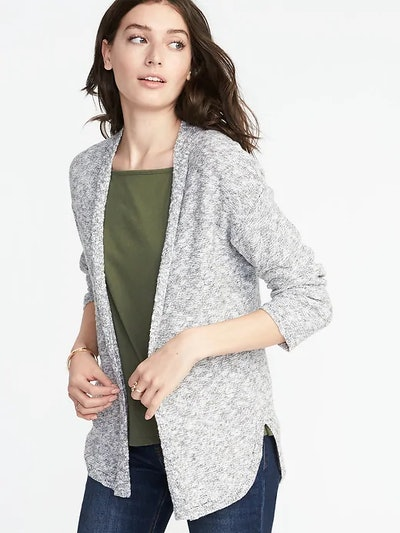 Textured-Knit, Open-Front Sweater