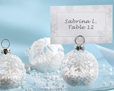 Snowflake Glass Ornament Winter Wedding Place Card Holders