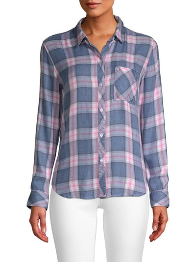 Hunter Plaid Pocket Shirt In Indigo Berry