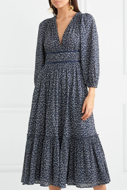 Malena Floral-Print Cotton-Crepon Midi Dress