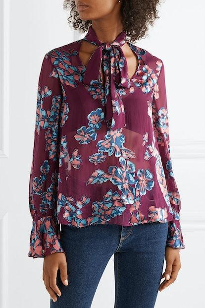 Lauren Pussy-Bow Floral-Print Devoré-Chiffon Blouse