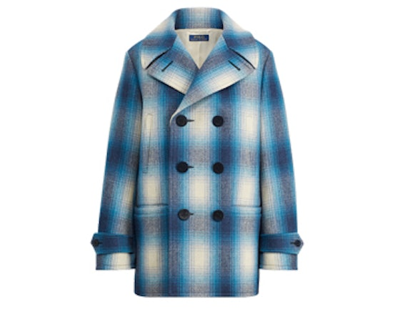 Plaid Wool-Blend Trench Coat