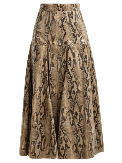 Snake-Print Skirt