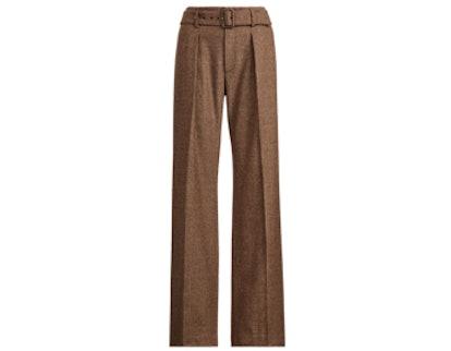 Buckled Tweed Wide-Leg Pant