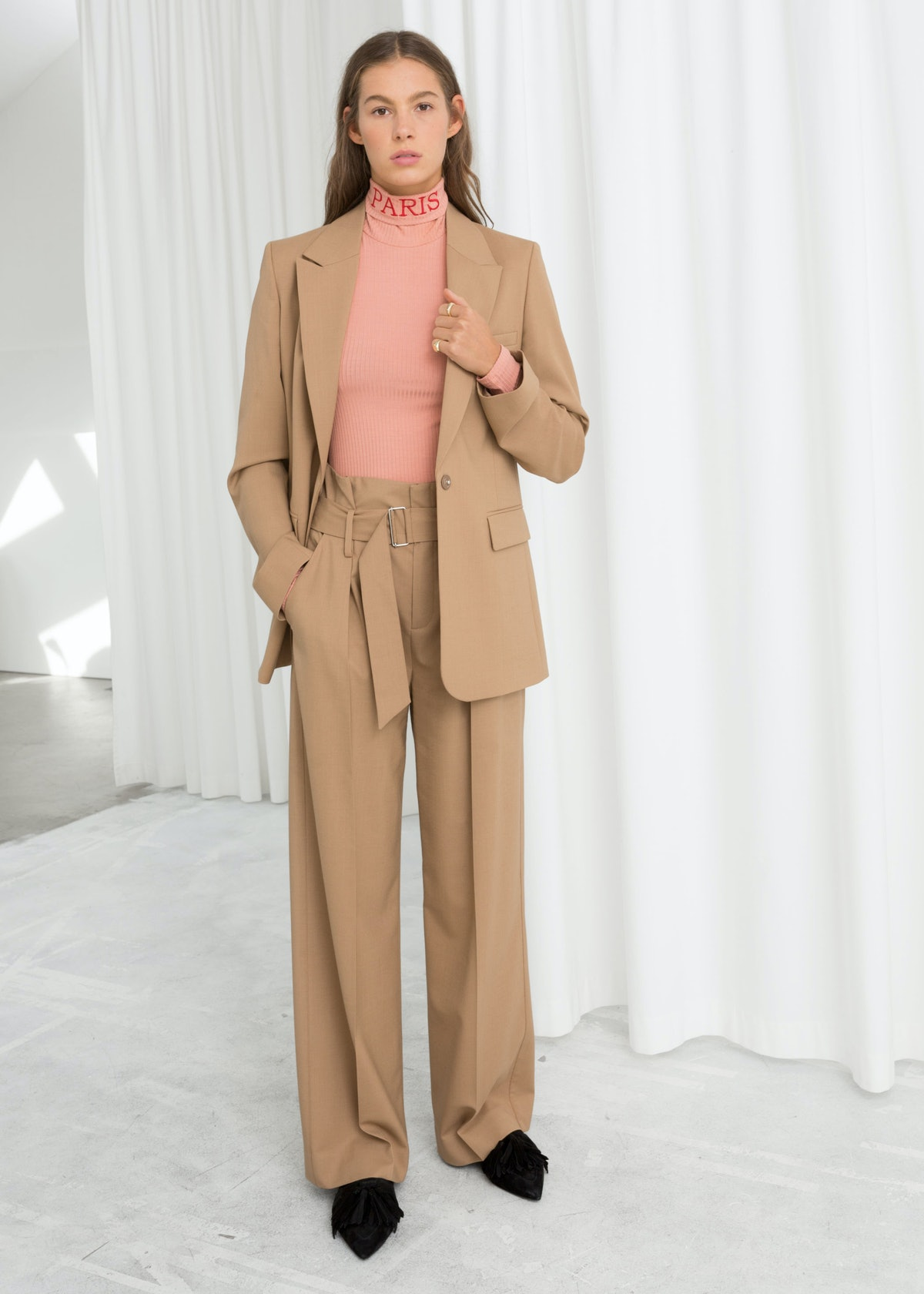 Wool Blend Belted Trouser