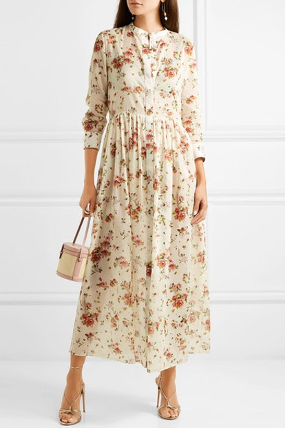 Disco Floral-Print Cotton-Voile Midi Dress
