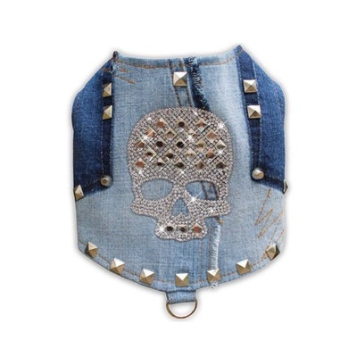 Studded Distressed Denim Crystal Skull Bling Dog Harness Vest