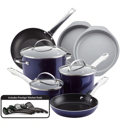 Farberware Luminescence Aluminum Nonstick 16-Piece Cookware Set
