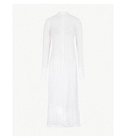 Longline Cotton And Silk Blend Shirt Dress