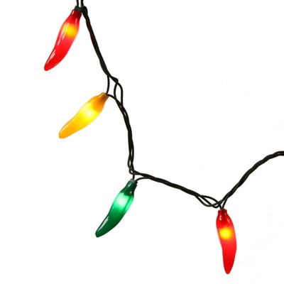 Vickerman Set of 35 Red, Green and Yellow Chili Pepper Christmas Lights - Green Wire
