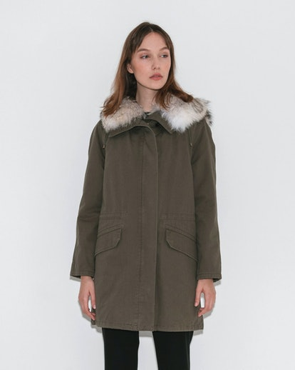 Yves Salomon ARMY Classic Parka in Hunter Green and Naturelle