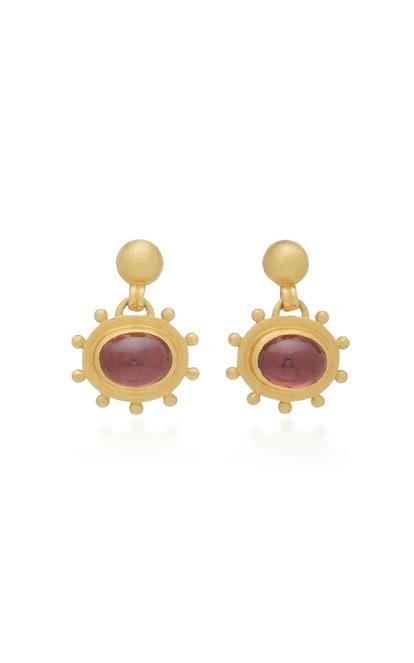 Garnet Bell Earrings