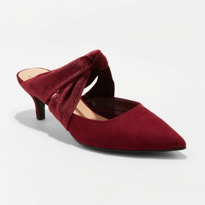 Women's Liane Microsuede Bow Slide Kitten Heel Pumps - A New Day™