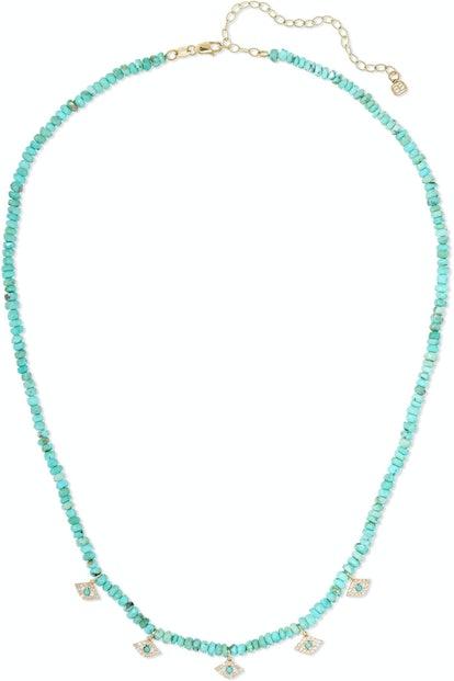 Evil Eye Diamond and Turqoise Necklace
