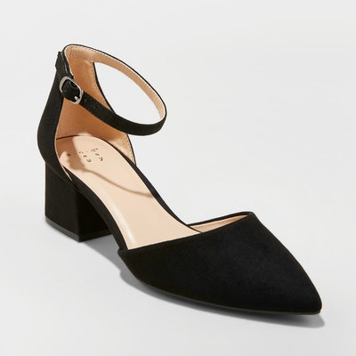 Women's Natalia Microsuede Pointed Toe Block Heeled Pumps - A New Day™