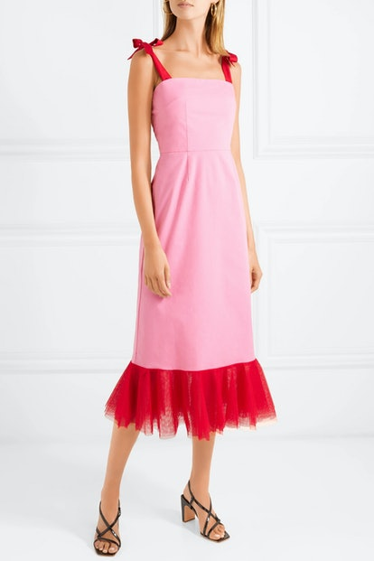 Langdon Tulle-Trimmed Stretch-Cotton Poplin Dress