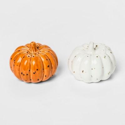 2pk Stoneware Pumpkin Salt And Pepper Set Orange/White - Threshold™