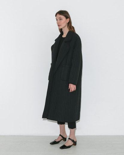 Nomia Quilted Overcoat in Black