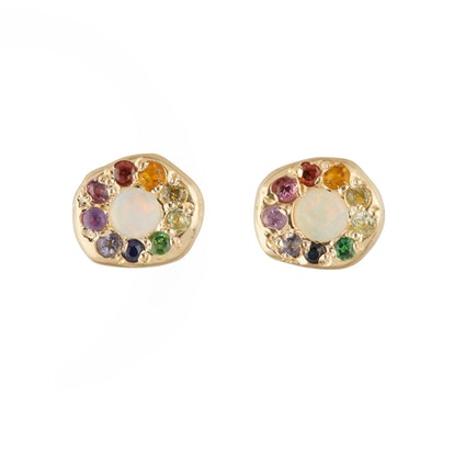 Opal Rainbow Disk Studs