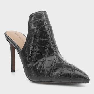 Women's Suri Faux Leather Croc Heeled Mule Pumps - Who What Wear™ Black