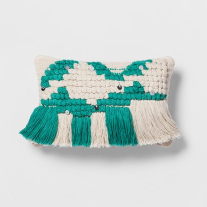 Opalhouse Teal Fringe Small Lumbar Pillow