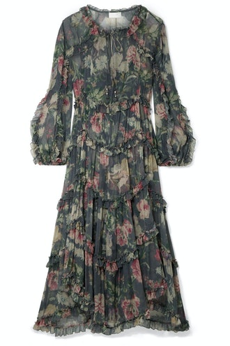 Iris Ruffled Floral-Print Silk-Crepon Midi Dress