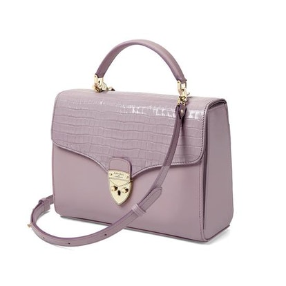Mayfair Bag with Stripe Strap in Lilac Croc