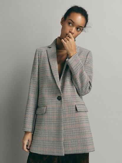 Check Wool Blazer Coat