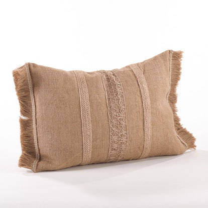Striped Jute Fringe Throw Pillow