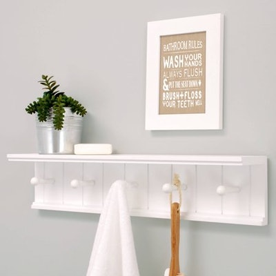 "Kiera Grace Kian 24"" Wall Shelf with 5 Pegs"
