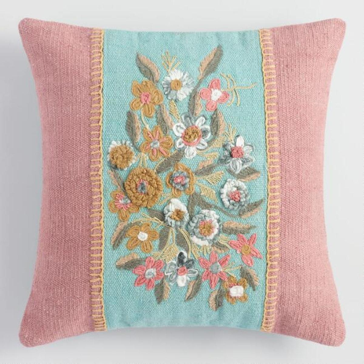 Large Blush Garden Floral Throw Pillow